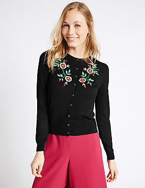 Embroidered Round Neck Cardigan, BLACK MIX, catlanding