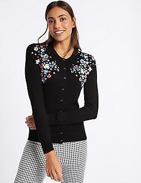 Floral Embroidered Round Neck Cardigan, BLACK MIX, catlanding