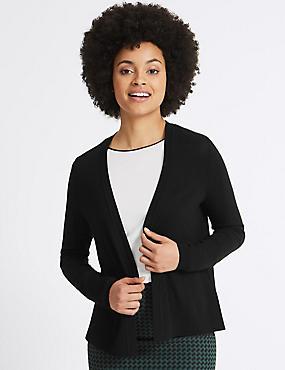 Open Front Long Sleeve Cardigan, BLACK, catlanding