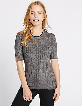 PETITE Textured Half Sleeve Jumper, GREY MIX, catlanding
