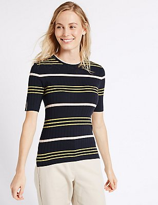 Striped Half Sleeve Jumper, NAVY MIX, catlanding