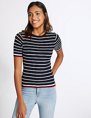 Striped Short Sleeve Round Neck Jumper, NAVY MIX, catlanding