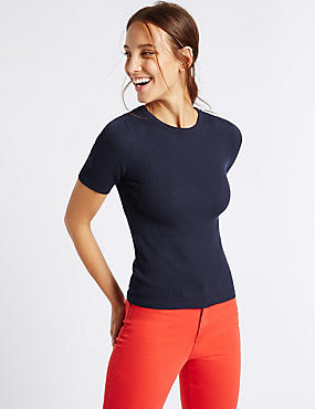 Crew Neck Short Sleeve Jumper, NAVY, catlanding