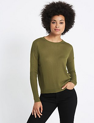 Round Neck Ribbed Sleeve Jumper, KHAKI, catlanding