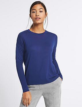 Round Neck Ribbed Sleeve Jumper, RICH BLUE, catlanding