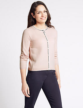 Contrasting Edge Round Neck Cardigan, PEACH MIX, catlanding