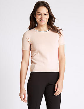 Contrasting Edge Round Neck Jumper, PEACH MIX, catlanding