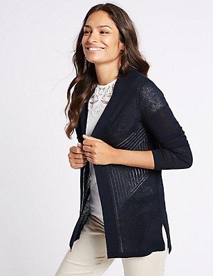 Linen Rich Pointelle Textured Cardigan, NAVY, catlanding