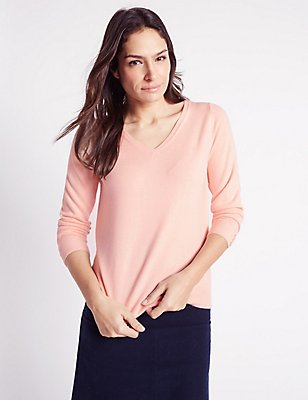 Cashmilon™ V-Neck Long Sleeve Jumper, BLUSH PINK, catlanding