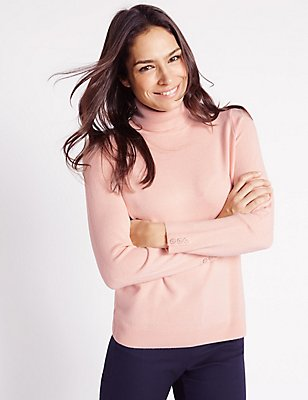 Cashmilon™ Polo Neck Jumper, BLUSH PINK, catlanding