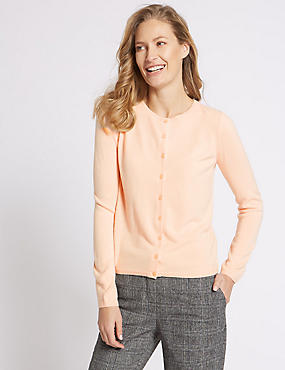 Cashmilon™ Round Neck Cardigan, SOFT PEACH, catlanding