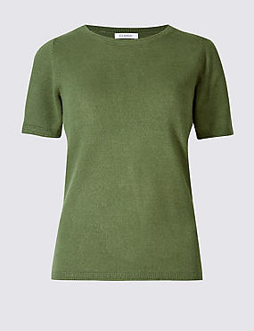 Cashmilon™ Round Neck Short Sleeve Jumper, SOFT KHAKI, catlanding