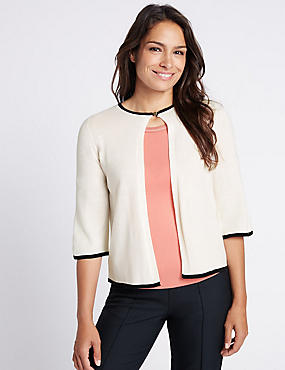 Tipped 3/4 Sleeve Cardigan, IVORY MIX, catlanding