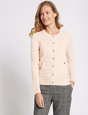 Lambswool Blend Round Neck Cardigan, SOFT PEACH, catlanding