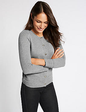 Lambswool Blend Round Neck Cardigan, GREY MARL, catlanding
