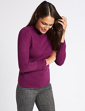 Funnel Neck Long Sleeve Jumper, MAGENTA, catlanding
