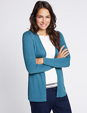 Textured Back Longline Cardigan, MEDIUM BLUE, catlanding