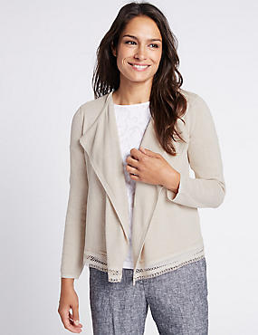 Cotton Rich Lace Trim Cardigan, NEUTRAL, catlanding