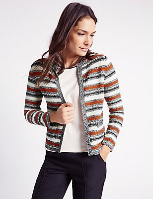 Textured 2 Pocket Cardigan, BRONZE MIX, catlanding