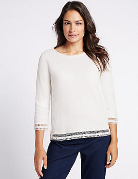 Pure Cotton Lace Trim 3/4 Sleeve Jumper, CREAM, catlanding