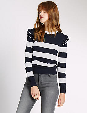 Ruffle Shoulder Stripe Jumper, NAVY MIX, catlanding