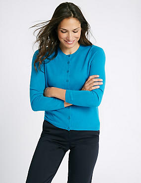 Button Front Cardigan, TURQUOISE, catlanding
