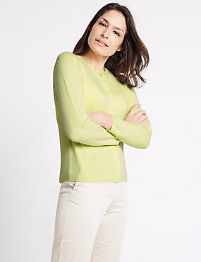 Ribbed Hem Cardigan, PALE LIME, catlanding