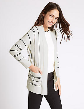 Striped Open Front 2 Pockets Cardigan, CREAM MIX, catlanding
