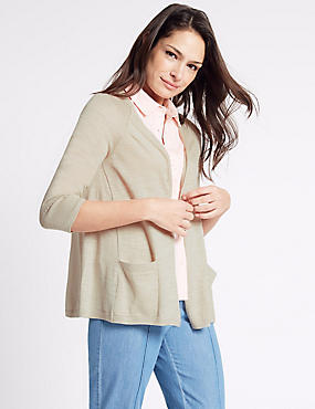 Open Front 2 Pockets 3/4 Sleeve Cardigan, NATURAL, catlanding