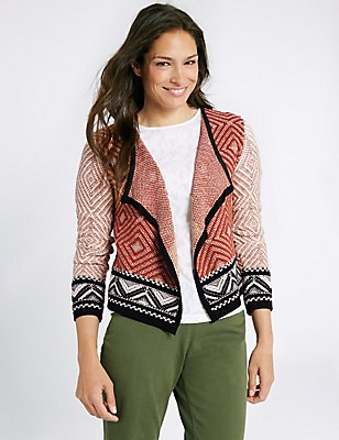 Cotton Rich Textured Open Front Cardigan, RUST MIX, catlanding