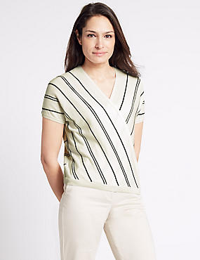 Striped V-Neck Short Sleeve Jumper, CREAM MIX, catlanding