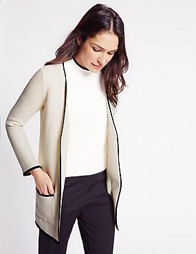 Pure Cotton Contrasting Edge Cardigan, IVORY MIX, catlanding
