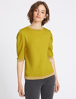 Metallic Trim Round Neck Prawn Sleeve Jumper, YELLOW, catlanding