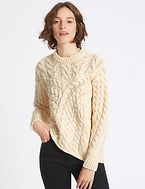 Cable Knit Round Neck Jumper, ECRU, catlanding