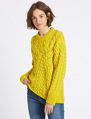 Cable Knit Round Neck Jumper, YELLOW, catlanding