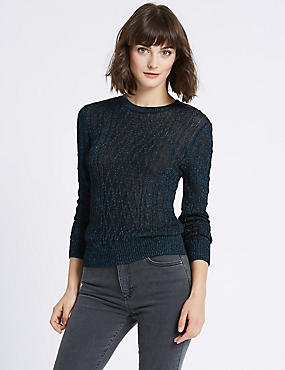 Textured Metallic Cable Knit Jumper, COBALT, catlanding
