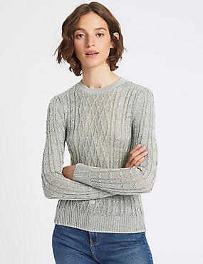 Textured Metallic Cable Knit Jumper, SILVER, catlanding