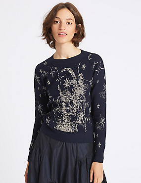 Cotton Blend Printed Round Neck Jumper, NAVY MIX, catlanding
