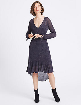 Sparkly V-Neck Tie Sleeve Jumper Dress, NAVY, catlanding
