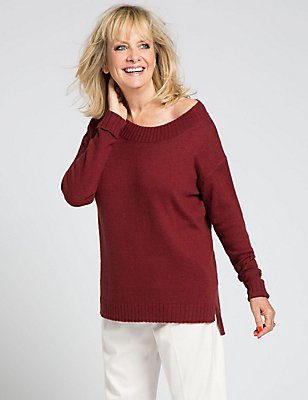 Dropped Hem Crew Neck Jumper, CLARET, catlanding