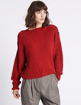 Shoulder Button Slash Neck Jumper, LACQUER RED, catlanding