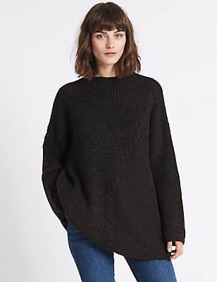 Cable Knit Longline Round Neck Jumper, GREY, catlanding