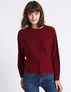 Tie Detail Round Neck Jumper , DARK CRIMSON, catlanding
