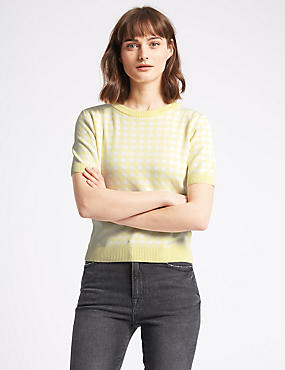 Checked Round Neck Half Sleeve Jumper, SOFT YELLOW, catlanding