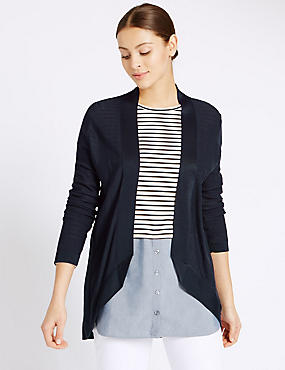Open Front Long Sleeve Cardigan, NAVY, catlanding