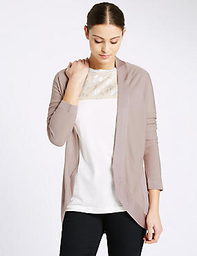 Open Front Long Sleeve Cardigan, DUSTED PINK, catlanding