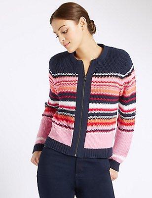 Pure Cotton Striped Cardigan, MULTI, catlanding