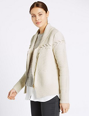 Collared Neck Cable Knitted Cardigan, OATMEAL, catlanding