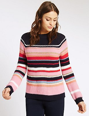 Striped Knit Jumper, NAVY MIX, catlanding
