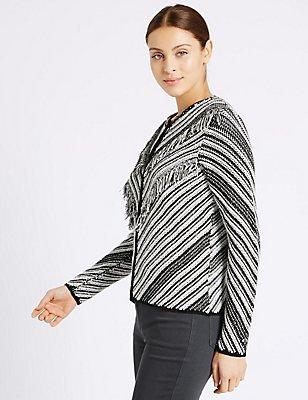 Cotton Blend Striped Cardigan, BLACK/WHITE, catlanding